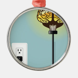 Gloeien gestopt in hersenen zilverkleurig rond ornament