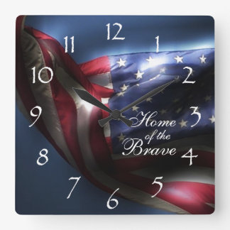 Gloeiend Amerikaans Vlag/Huis van Moedig Vierkante Klok