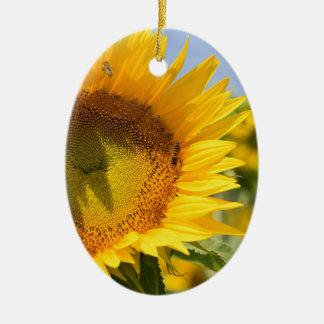 Glorierijke zonnebloemen! keramisch ovaal ornament
