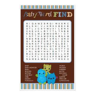Gluur een Woord van het Spel van het Baby shower Flyer