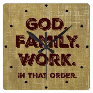 God. Familie. Het werk. Prioriteiten Vierkante Klok