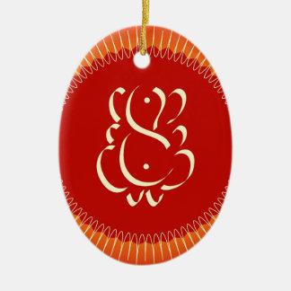God Ganesha met zonstralen Keramisch Ovaal Ornament