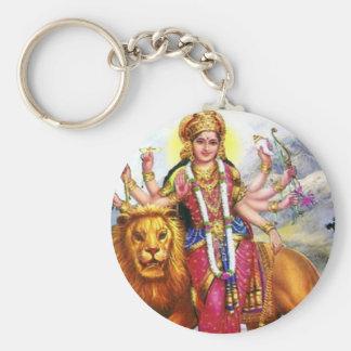 Godin Durga met Leeuw Sleutelhanger