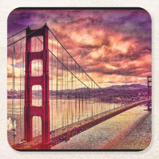 Golden gate bridge in San Francisco, Californië Vierkante Onderzetter