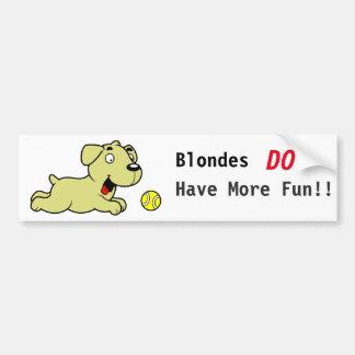 Golden retriever - de Blonden hebben Meer Pret Bumpersticker
