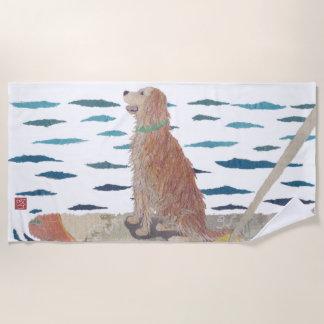 Golden retriever, de Moderne Hond van het Strand, Strandlaken