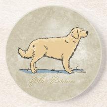 Golden retriever - hondenras zandsteen onderzetter