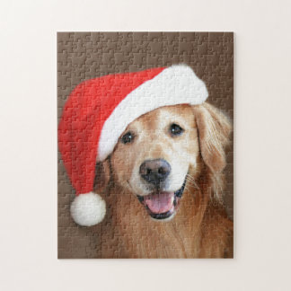 Golden retriever met het Pet van de Kerstman Legpuzzel