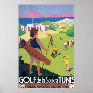 Golf DE La Soukra Tunis het Vintage Poster van de