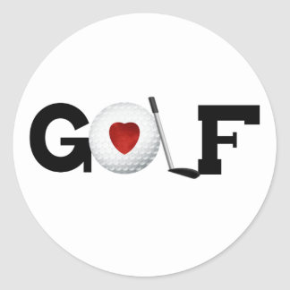 Golf met Golfbal Ronde Sticker