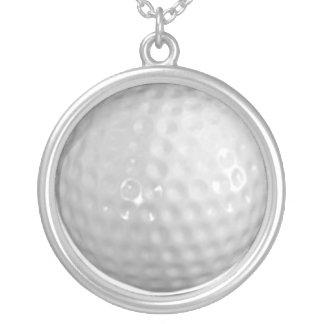 golfbal zilver vergulden ketting