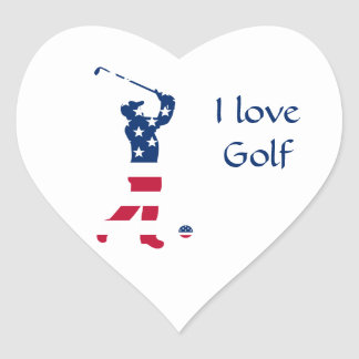 Golfspeler van de het golf de Amerikaanse vlag van Hart Sticker