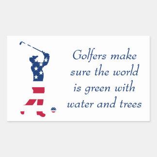 Golfspeler van de het golf de Amerikaanse vlag van Rechthoekige Sticker