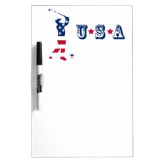 Golfspeler van de het golf de Amerikaanse vlag van Whiteboards