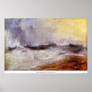 Golven die tegen de wind door Joseph Turner breken Poster