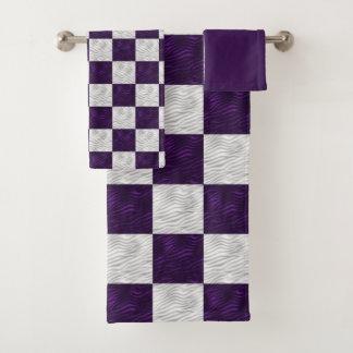 Golvende Geweven Paarse & Witte Geruit Bad Handdoek