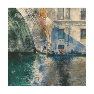 Gondel in het Grote Kanaal van Venetië Italië Hout Afdruk