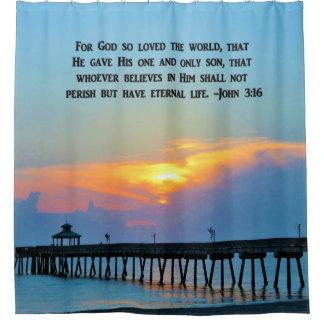 GORDIJN VAN DE DOUCHE VAN DE RUSTIG JOHN 3:16 HET
