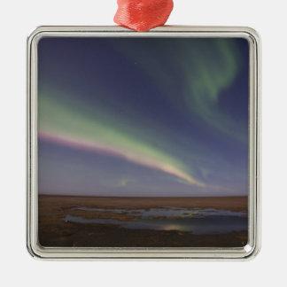 Gordijnen van gekleurde noordelijke lichten zilverkleurig vierkant ornament