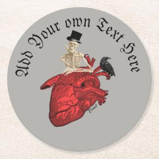 Gotisch bruidegomskelet en hart ronde onderzetter