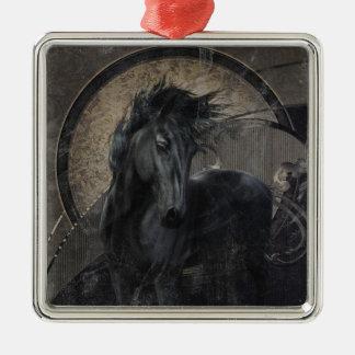 Gotisch Friesian Paard Zilverkleurig Vierkant Ornament