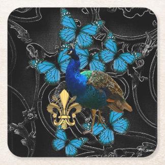 Gotische Pauw en vlinders Vierkante Onderzetter