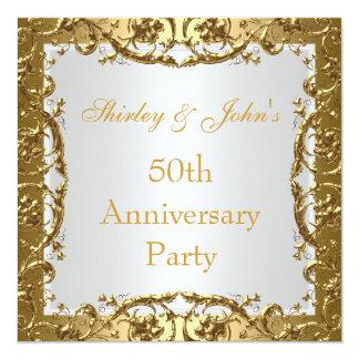 Goud 2 van de Partij van het Jubileum van het 13,3x13,3 Vierkante Uitnodiging Kaart