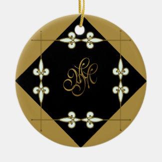 Goud/de Zwarte van de Jugendstil van het monogram Rond Keramisch Ornament