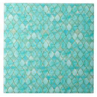 Goud en het patroon van Aqua Maroccan Tegeltje