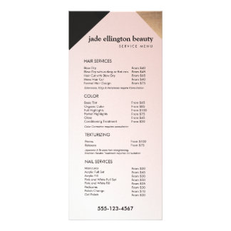 Goud, het Menu van de Black Pink Salon Spa Dienst 10,2x 22,9 Cm Reclamekaart