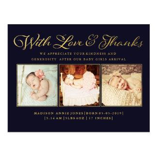 Goud met het Briefkaart van de Foto van het Baby
