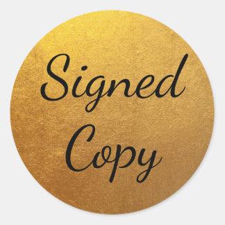 Goud Ondertekend Exemplaar Ronde Sticker
