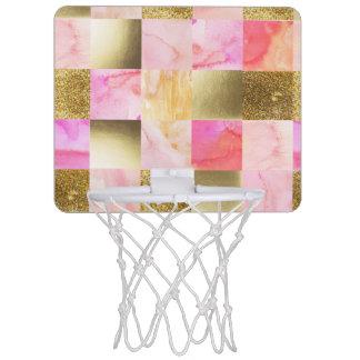 goud, pastelkleuren, waterkleuren, vierkanten, mini basketbalring