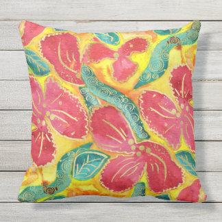 Goud van de Hibiscus van de waterverf schittert Buitenkussen