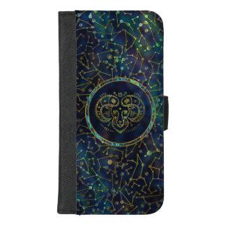 Gouden Abalone van de Dierenriem van de Ram op iPhone 8/7 Plus Portemonnee Hoesje