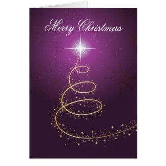 Gouden abstracte Kerstboom bij paars gloeien Briefkaarten 0