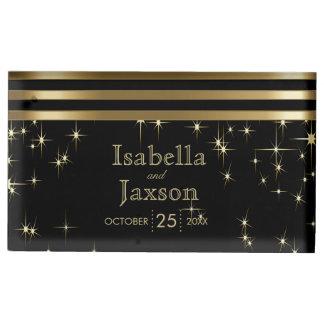Gouden Bar & Zwart Huwelijk Starlights Tafelkaart Houder