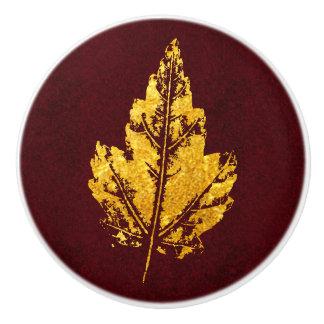 Gouden Blad op Bourgondië - kabinetsknop Keramische Knop