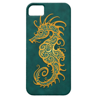 Gouden Blauwe StammenSeahorse Barely There iPhone 5 Hoesje