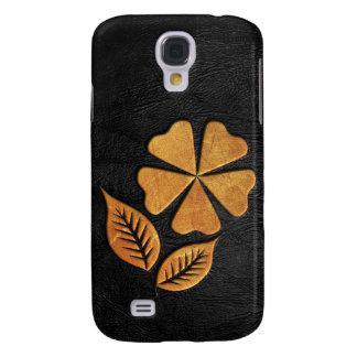 Gouden Bloem op Zwart Leer Galaxy S4 Hoesje