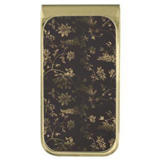 Gouden bloemen vergulde geldclip