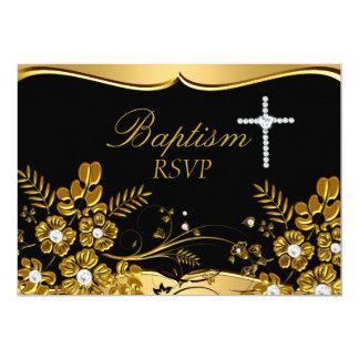 Gouden BloemenWerveling & het DwarsDoopsel RSVP 12,7x17,8 Uitnodiging Kaart