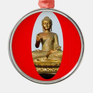 Gouden Boedha & Heilig Rood door SHARLES Zilverkleurig Rond Ornament