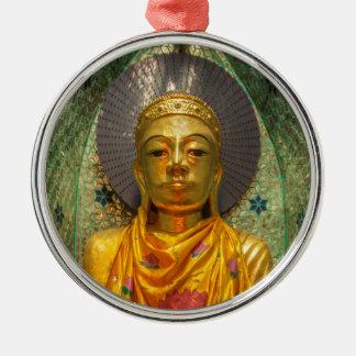 Gouden Boedha in Tempel Zilverkleurig Rond Ornament
