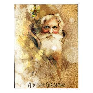 Gouden Bokeh de vintage Kerstman Briefkaart