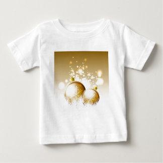 Gouden bruine nieuwe jaardecoratie met sneeuw baby t shirts