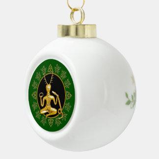 Gouden Cernunnos, Hulst, & triquatra-Bal Keramische Bal Ornament