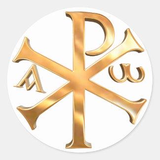 Gouden chi-Rho Ronde Sticker