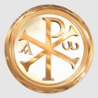 Gouden Christogram Ronde Sticker