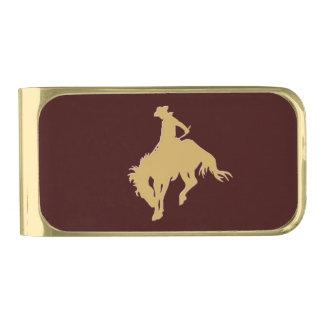 Gouden Cowboy die Paard hardnekkig verzet tegen Vergulde Geldclip